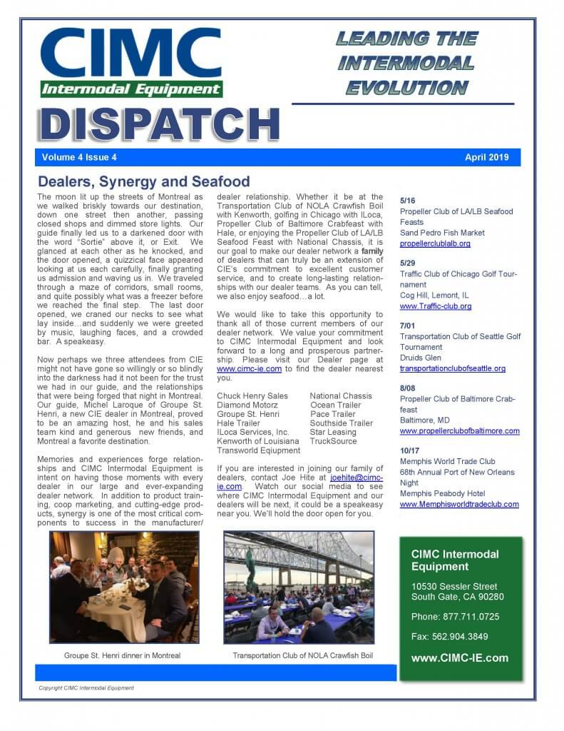 CIMC Dispatch April 2019